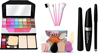 PRO TYA 6155 Fashion Makeup Kit for Girls + Hello Kitty Makeup Brushes 5 Piece + Pro Makeup Sponges 6 Piece + Eye Liner & ...