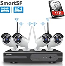 anni SmartSF 8CH 1080P Wireless Überwachungskamera HD NVR Kit WiFi Surveillance Systems,4x2.0 MP Megapixel Wetterfestes Wireless Outdoor Bullet IP Kameras,P2P,65ft Nachtsicht,mit 1TB Festplatte