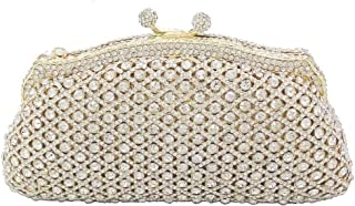 HUIfenghe Women's Diamond Openwork Bag Party Party Evening Pack Solid Color Wedding Celebration Gift Bride Handbag Chain Shoulder Tote Wallet 18 * 8 * 11cm (Color : Gold)