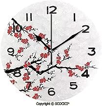 SCOCICI Round Wall Clock Simplistic Cherry Blossom Tree Asian Botanic Themed Pattern Fresh Organic Lines Art 10 inch Morden Wall Clocks Silent Round Decorative Clock