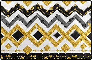 MIGAGA Non Slip Area Rugs didian Seamless Patterns White Black Gold Zigzag Floor Mat Living Room Bedroom Dinning Kitchen Carpets Doormats