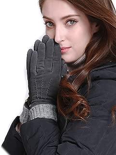 Womens Winter Lambskin Suede Leather Gloves Wool Lined Long Fur Cuffs