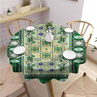Wrinkle Free Round Tablecloth Afghan Oriental Shapes Pattern Buffet Table Holiday Dinner Picnic D67