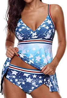 Enggras Women's Double Up Swimwear Tankini with Triangle Briefs 2 Two Piece Swimsuit Bathing Suit