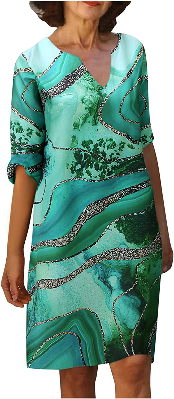Nihewoo Sundresses for Women Casual Retro Printing V-Neck Short Sleeve Comfy Dress Plus Size Dresses for Wedding Guest Summer