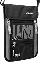 My-JAXO Premium Family Travel Neck Pouch Wallet – My-JAXO Safety Passport Holder for Men and Women with RFID Blocking Black Grey or Red