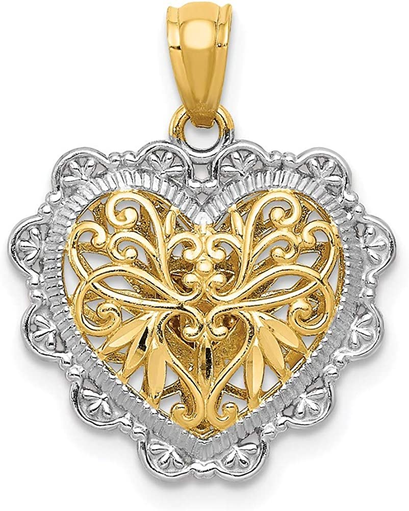 14k Two Tone Yellow Gold White Polish Reversible Filigree Heart Pendant Charm Necklace Love Fine Jewelry For Women Gifts For Her