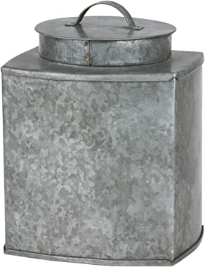 Stonebriar Square Country Rustic Galvanized Metal Container with Lid and Handles