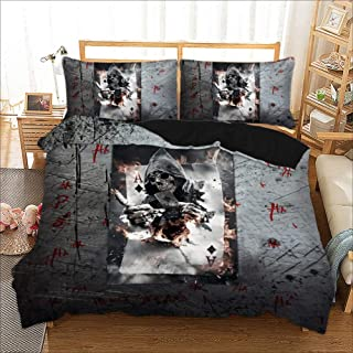 PATATINO MIO Porker Bedding Set Queen 3D Joker Playing Cards Black/Gray Printed Teens Duvet Cover Set for Adults Boys Girls 3 Pieces with 1 Duvet Cover 2 Pillow Sham No Comforter