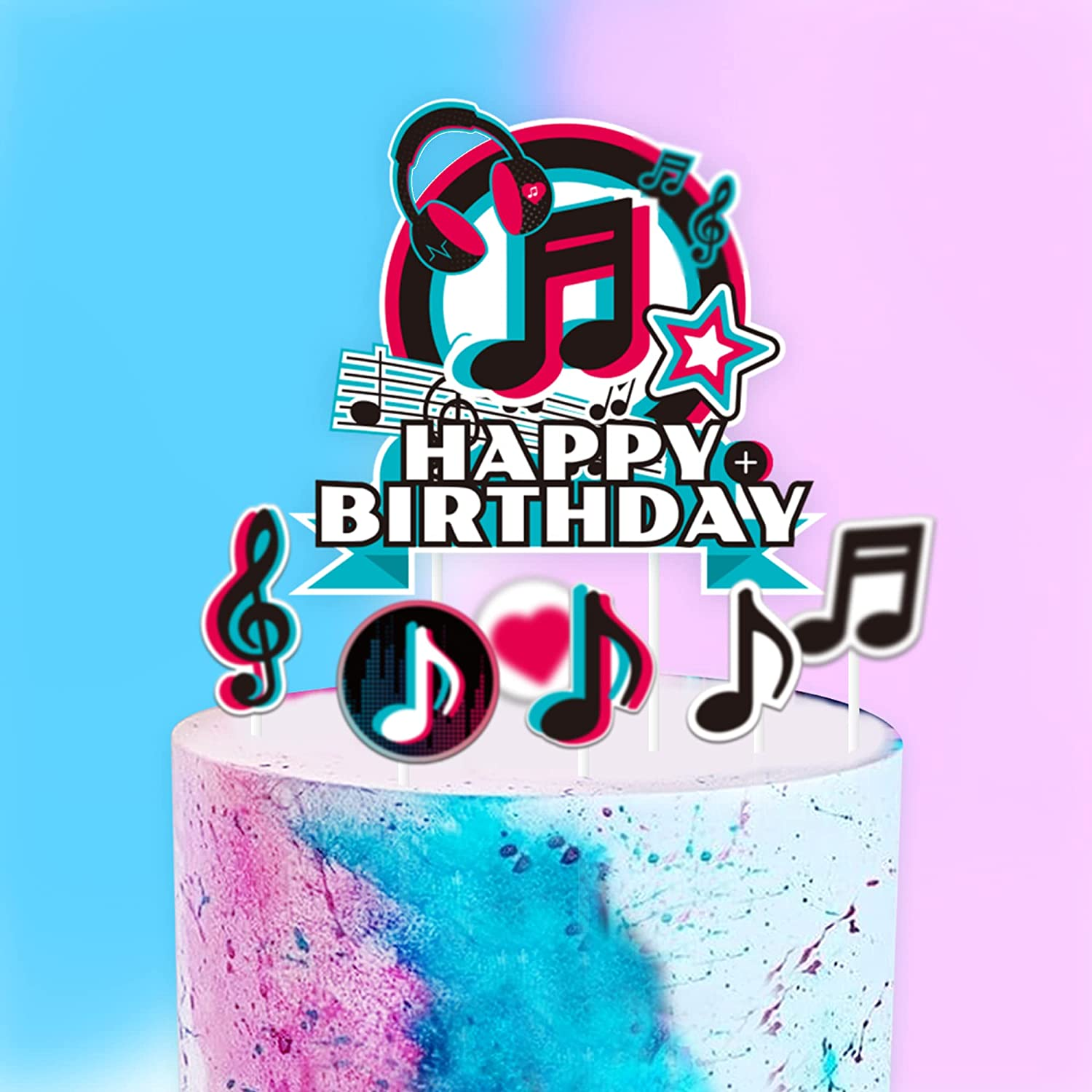 Music Birthday Cake Toppers, Musical Party Supplies for Celebrate Birthday Cupcake Toppers, Girl's Music Karaoke Themed Party Supplies Decorations, Set of 7