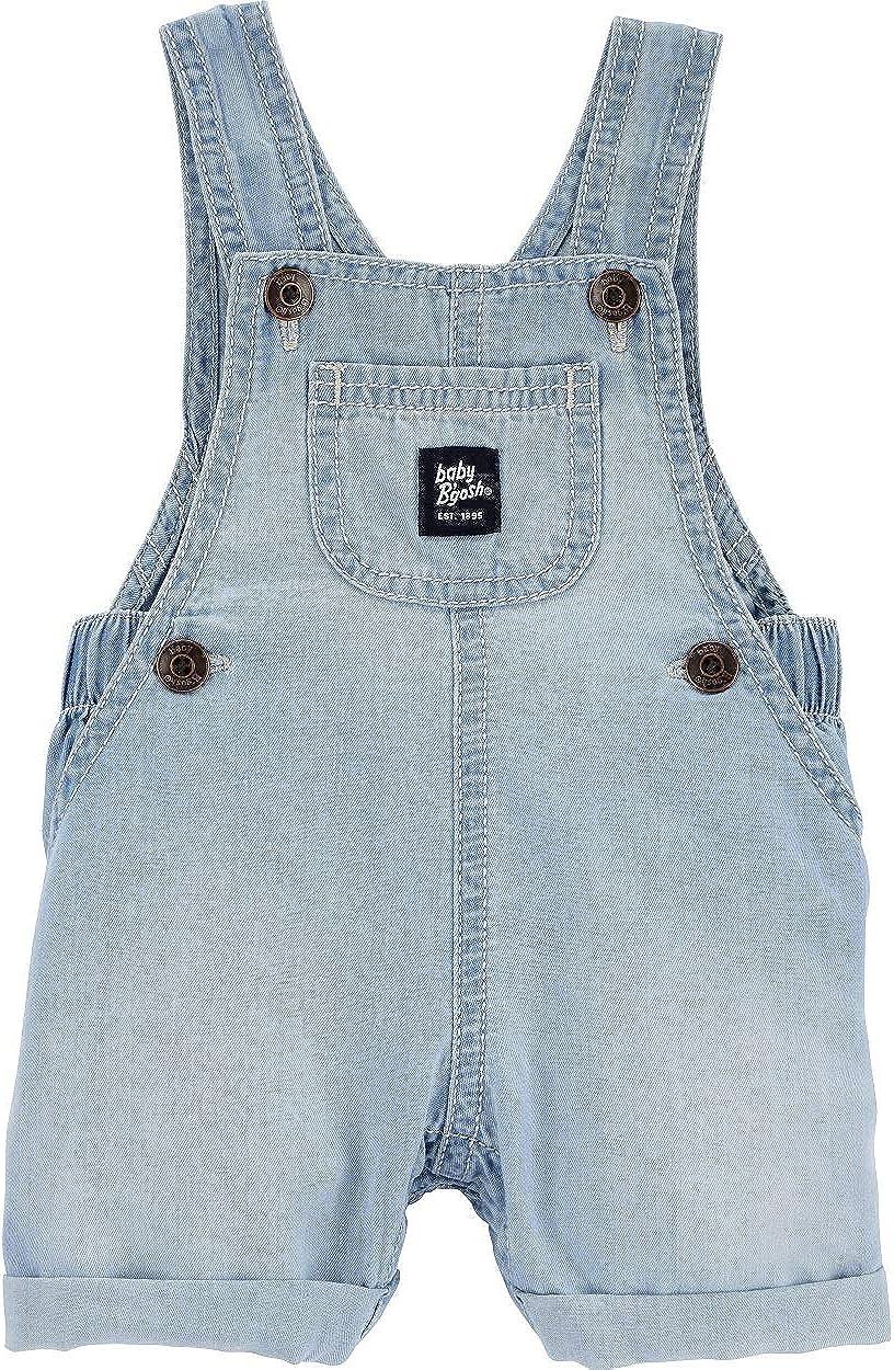 Oshkosh B'gosh Baby Girls' Soft Chambray Shortalls with Classic Vestbak Detail & Functional Pockets, Blue (Size 3-24 Months)