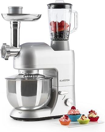 Klarstein Lucia Argentea • Robot de Cocina Universal • Batidora • Amasadora • 1200 W • 5 L • Batido planetario • Picadora • Cabezal para Pasta • Recipiente de Acero Inoxidable • Plateado