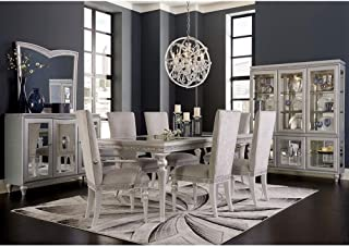 Aico Amini Melrose Plaza 9 Piece Dining Set - Table, 2 Arm, 6 Side Chairs in Dove Grey