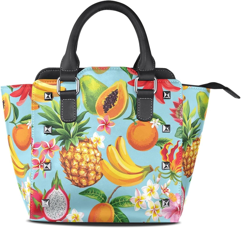 My Little Nest Women's Top Handle Satchel Handbag Tropical Fruits Flowers Ladies PU Leather Shoulder Bag Crossbody Bag