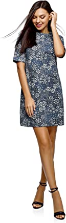 oodji Collection Femme Robe Coupe Droite en Maille