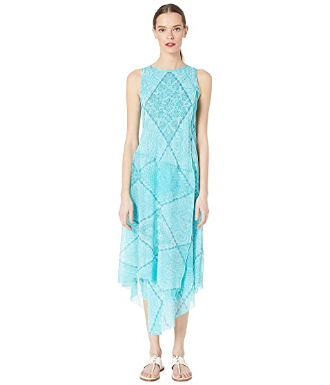 FUZZI Crochet Patch Tulle Print Sleeveless Dress