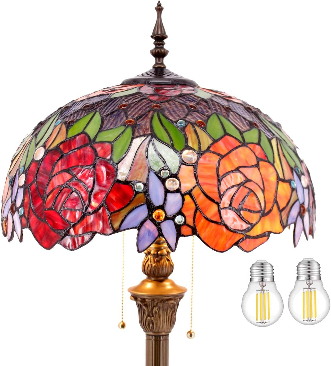 Tiffany Floor Lamp Glam Outstanding LED Antique Reading Standing Ligh Bright Excellence