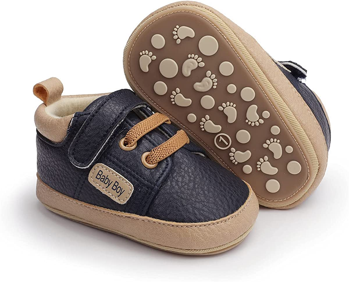 LAFEGEN Baby Boys Girls Shoes Soft Anti-Slip Sole Canvas Sneakers Toddler High Top First Walkers Shoes(0-18Months)