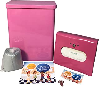 Sanitary Napkin Receptacle, Surface Mounted, with Liners, Courtesy Disposal Bags and Dispenser, Steel, Total Solution Bundle (Pink)