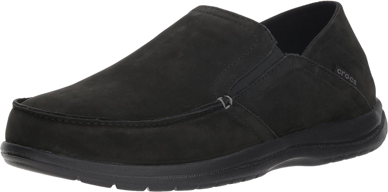 Crocs Men's Santa Cruz Congreenible Leather Slip-on Loafer Flat