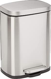 AmazonBasics Rectangle Soft-Close Trash Can - 5L, Satin Nickel