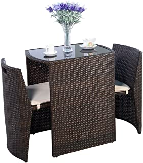 Outdoor Furniture - Patio Wicker Dining Table and Chairs With Cushions Set 3 Piece - All-Weather - Great for Backyard Porch Garden and Balcony - Brown - by Global Group