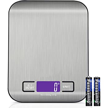 Digital Food Kitchen Scale, Weight Grams and Oz, LED Backlit Display (AAA Battery), Stainless Steel