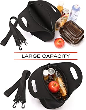 Lunch Bag,Vaschy Big Girls' Neoprene Insulated Container for Mens Womens One Size Classic Black