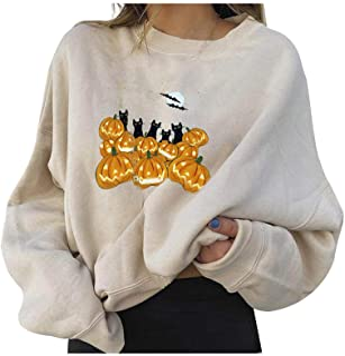 Zellaite Womens Sweatshirts Pullover Halloween Pumpkin...
