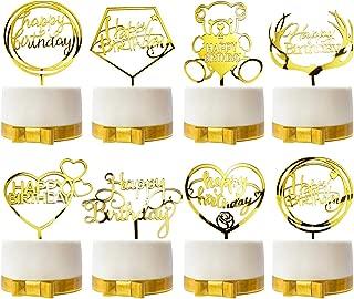 Gtlzlz 8 Pieces Happy Birthday Gold Cake Topper Acrylic Cupcake Topper for Various Birthday Cake Decorations