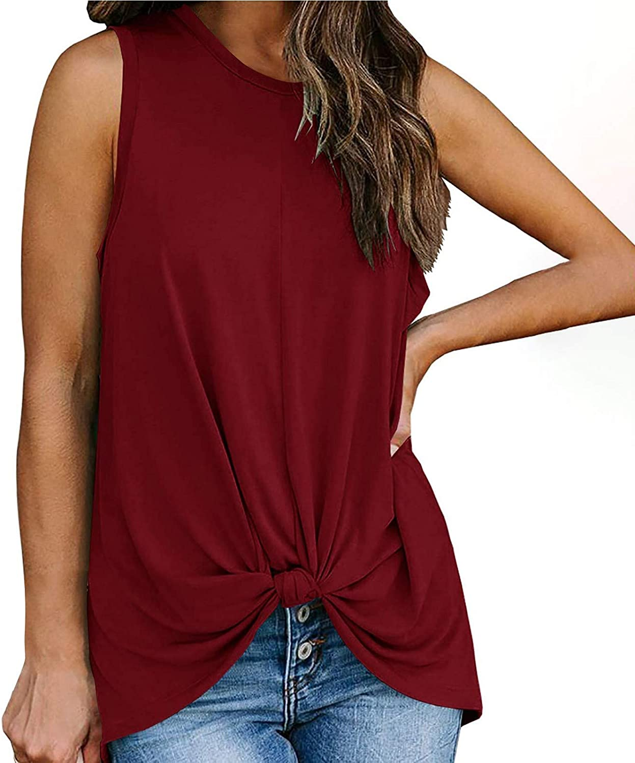 ML_Victor Womens Tank Tops,Summer O-Neck Sleeveless Solid Casual Tee Tops Fashion Workout Tank Vest Tunic Tops Shirts