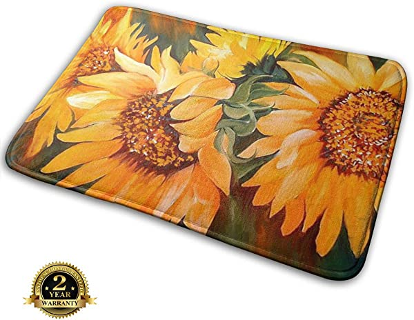 Bumeryer Custom Sunset Sunflower Doormat Rug Indoor Bathroom Kitchen Absorbent Non Slip Door Mats Home Decor 23 6 L X 15 7 W