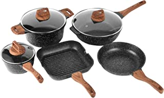 ESLITE LIFE Pots and Pans Set Nonstick Induction Cookware Set with Granite Coating, 8 Piece