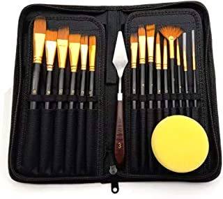 Tykeed 17pcs Artist Paint Brush Set with Canvas Bag Paint Scraper Sponge for Watercolor Brush Oil Acrylic Drawing Painting...