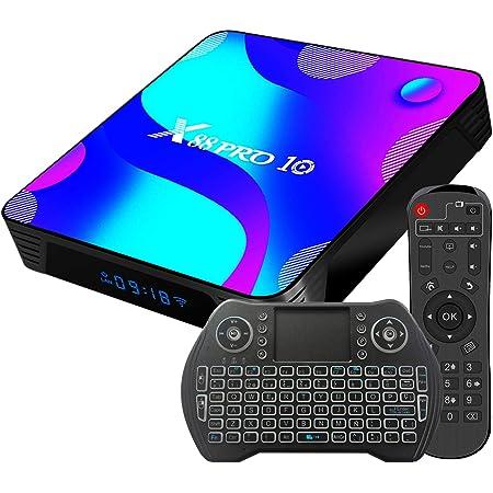 Android TV Box 11, 2GB RAM 16GB ROM Android 11.0 Compatible con 4K 3D H.265, RK3318 Dual-WiFi 2.4g / 5g Smart TV Box con Mini Teclado HDMI USB 3.0