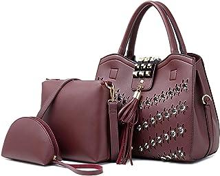 3 Piece Rivet Handbag Versatile Multi Piece Set (Color : E)