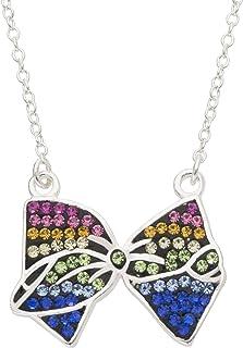 """jojo siwa Brass Rainbow Crystal Bow Necklace 16"""" w/2"""" Extender Nickelodeon"""