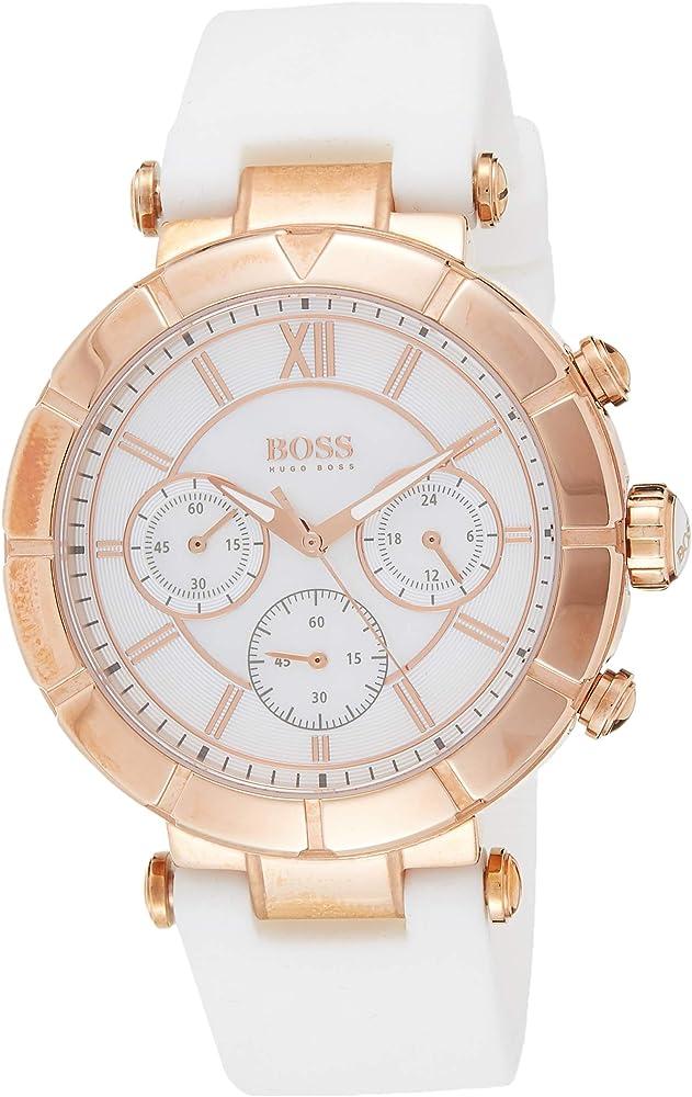 Hugo boss,orologio da donna, cronografo, quadrante madreperla ,con cinturino di silicone 1502315