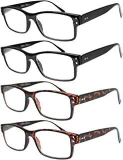 Vista Vision Reading Glasses for Men and Women - lightweight 4 Pack Square Design Spring Hinge Ultra Clear Vision