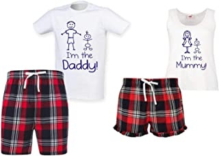 60 Second Makeover Limited I'm The Mummy/I'm The Daddy Couples Matching Pyjama Tartan Shorts Set Couples Family Matching T...