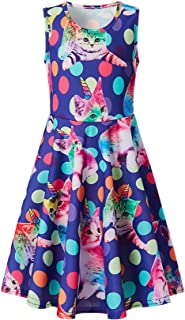TUONROAD Girls Kids Sleeveless 3/4 Sleeve Dress 3D Cartoon Floral Printed Casual Twirl Sundress 4-13 Years