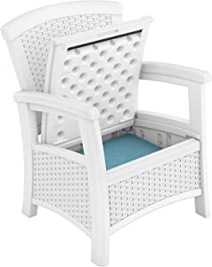 Suncast Elements Resin Wicker Design Club Chair with Storage, White (2 Pack)
