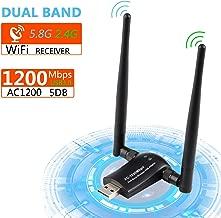 Xpassion USB WiFi Adaptador 2 Antenas 1200Mbps, 5dBi Dual Band(5GHz 867Mbps/2.4GHz 300Mbps) Mini Receptor Inalámbrico para PC/Desktop/Laptop,Soporte Windows XP/7/8/10/Vista,Mac OS 10.4-10.14,MAX OSX