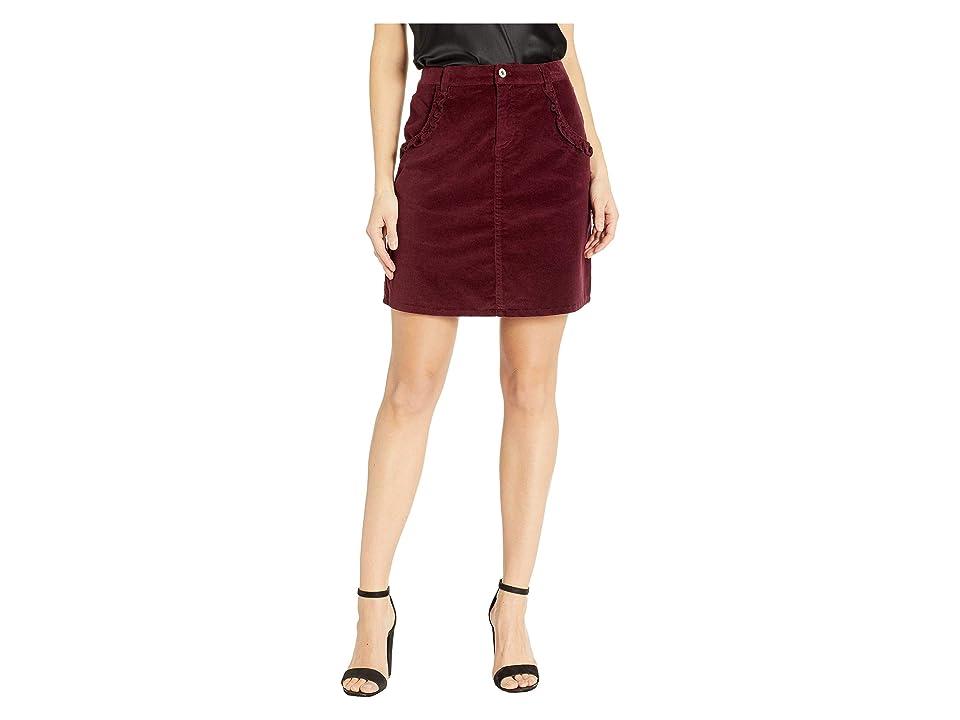 CeCe Ruffled Corduroy Skirt (Deep Claret) Women