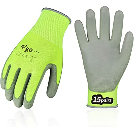 Vgo 15-Pairs Polyurethane Coated Gardening and Work Gloves (Size L, Yellow, PU2103)