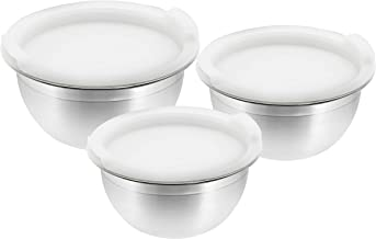 Raj VPI014 3 Pieces Mixing Bowl With Plastic Lid, Silver, VPI014, 3 Pieces