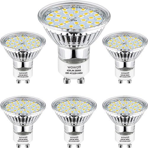 Bombilla GU10 LED, Wowatt LED GU10 2800K Blanco Cálido 5W Equivalente a Halógena de 40W GU10 Iluminación Interior AC ...