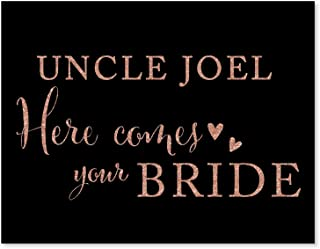 Andaz Press Personalized Wedding Party Signs, Faux Rose Gold Glitter on Black, 8.5x11-inch, Uncle Josh, Here Comes Your Bride, Ring Bearer or Flower Girl Sign, 1-Pack, CUSTOM MADE Any Name