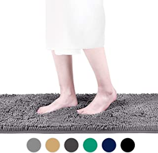Colorxy Shaggy Chenille Loop Bathroom Rugs - Solid Shag Washable Bath Mat Runner Non Slip, Soft, Plush for Bathroom Shower with Water Absorbent Memory Foam (Neutral Gray, 16'' X 47'')