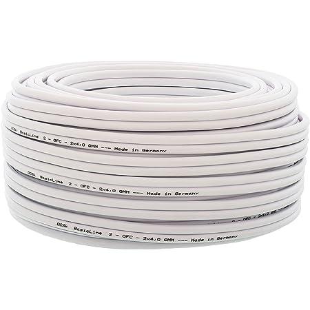 Cavo per altoparlante 10m (Bianco) DCSk - 2x4mm² - Cavo in rame OFC per HiFi/Audio - 99,99% cavo in rame con isolamento